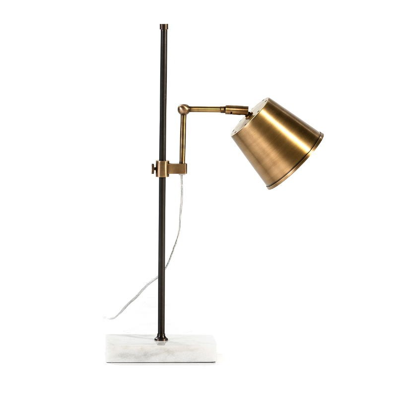Table Lamp 32X14X71 Marble White Metal Golden Black - image 53266