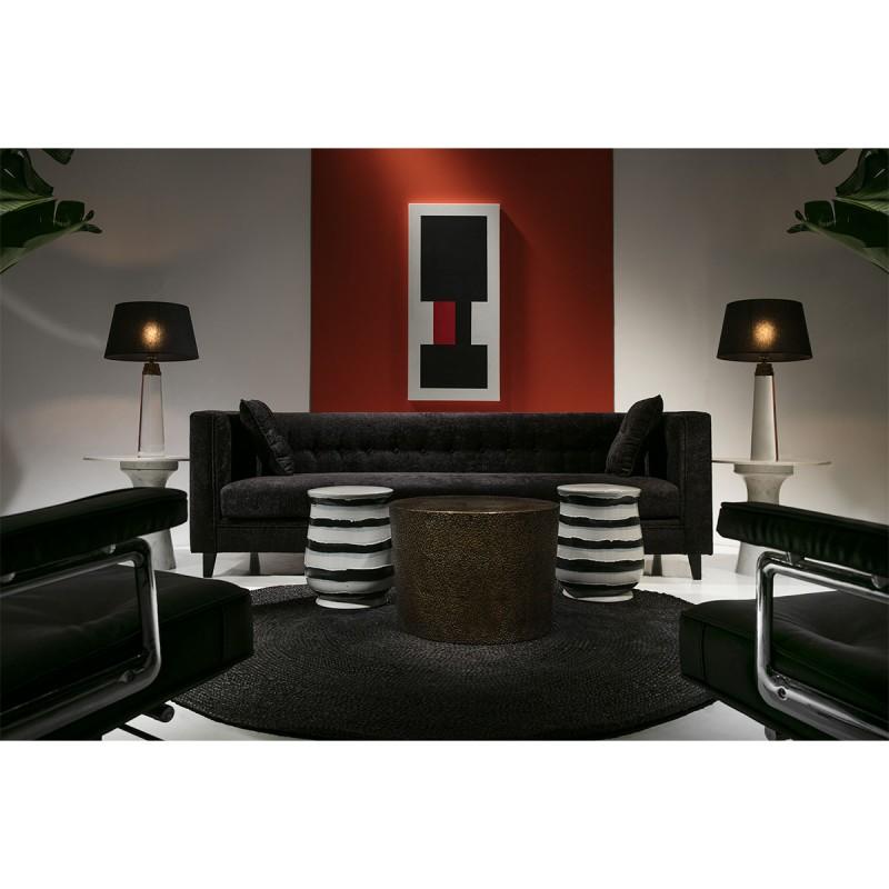 Sofa 4 Plätze 240X95X70 Schwarzer Stoff - image 53280