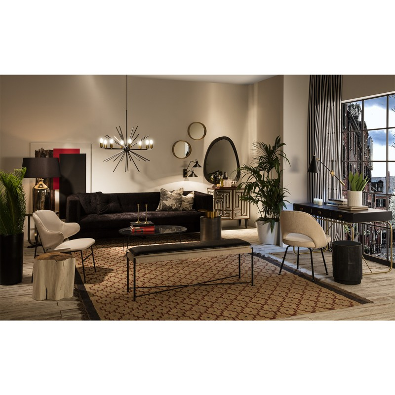 Sofa 4-Seater  240X95X70 Black Fabric - image 53281