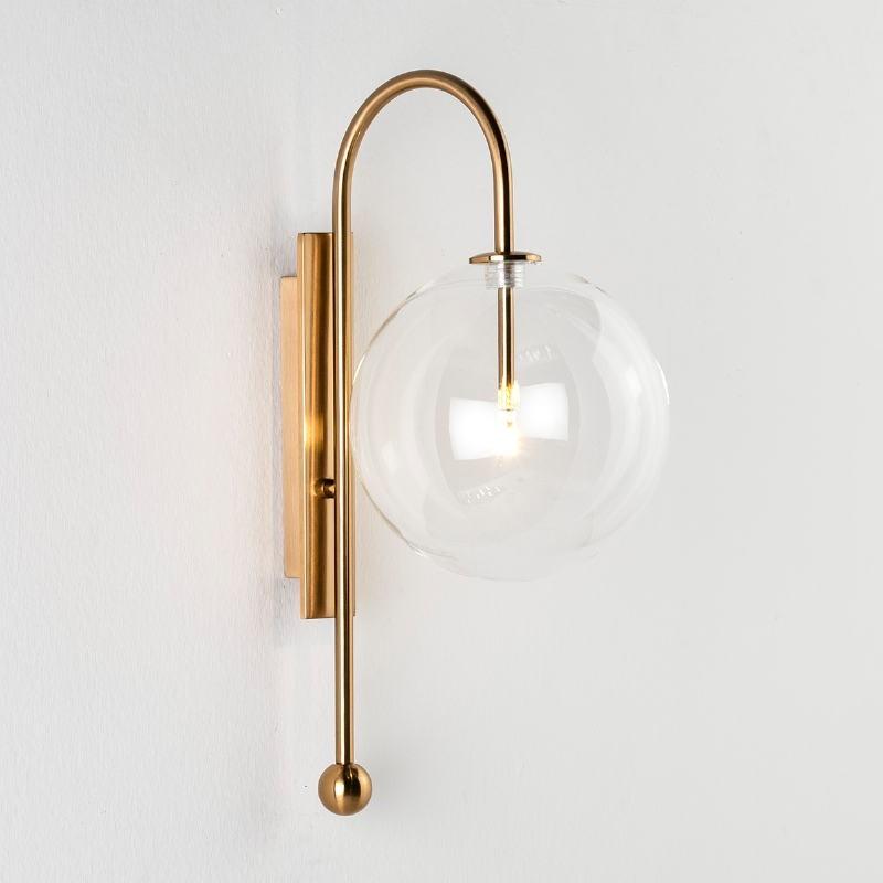 Wall Lamp 20X28X47 Glass Metal Golden