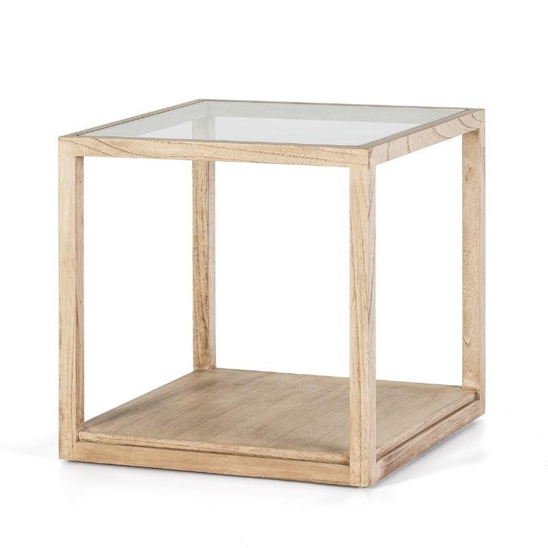 Table d'appoint, bout de canapé 60x60x60 Verre Bois naturel blanchi