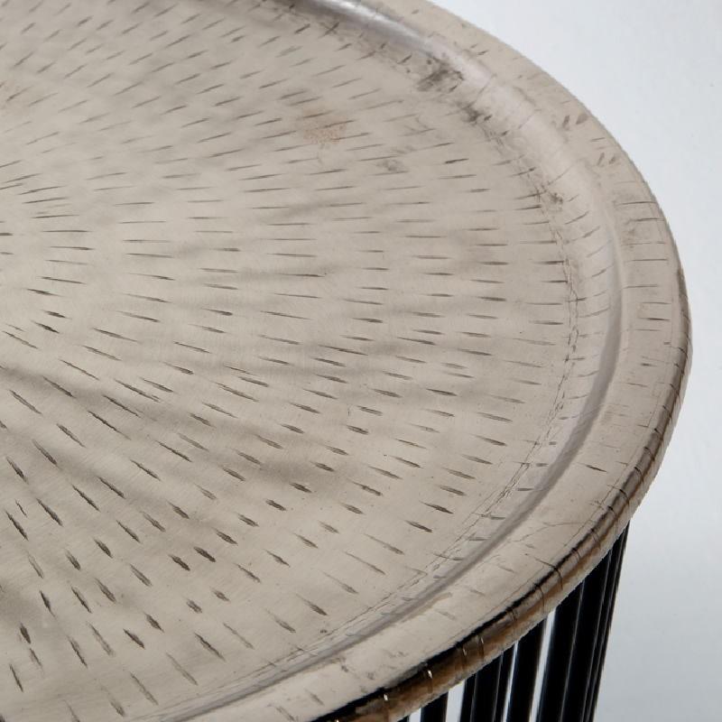 Table d'appoint, bout de canapé 56x56x42 Fer Noir Argent - image 53298
