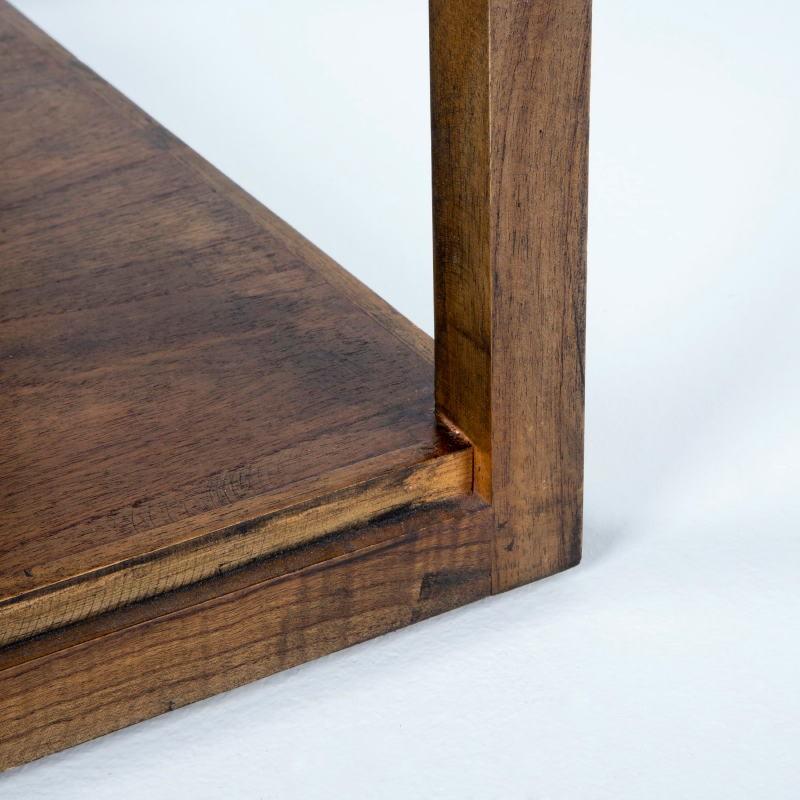 Table d'appoint, bout de canapé 60x60x60 Verre Bois Naturel  - image 53303