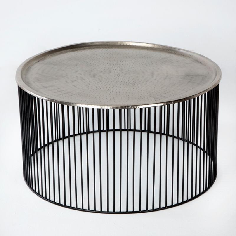 Table basse 80x80x42 Fer Noir Argent - image 53310