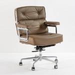 Chaise de Bureau 64x60x93 99 réglable Métal Cuir Taupe