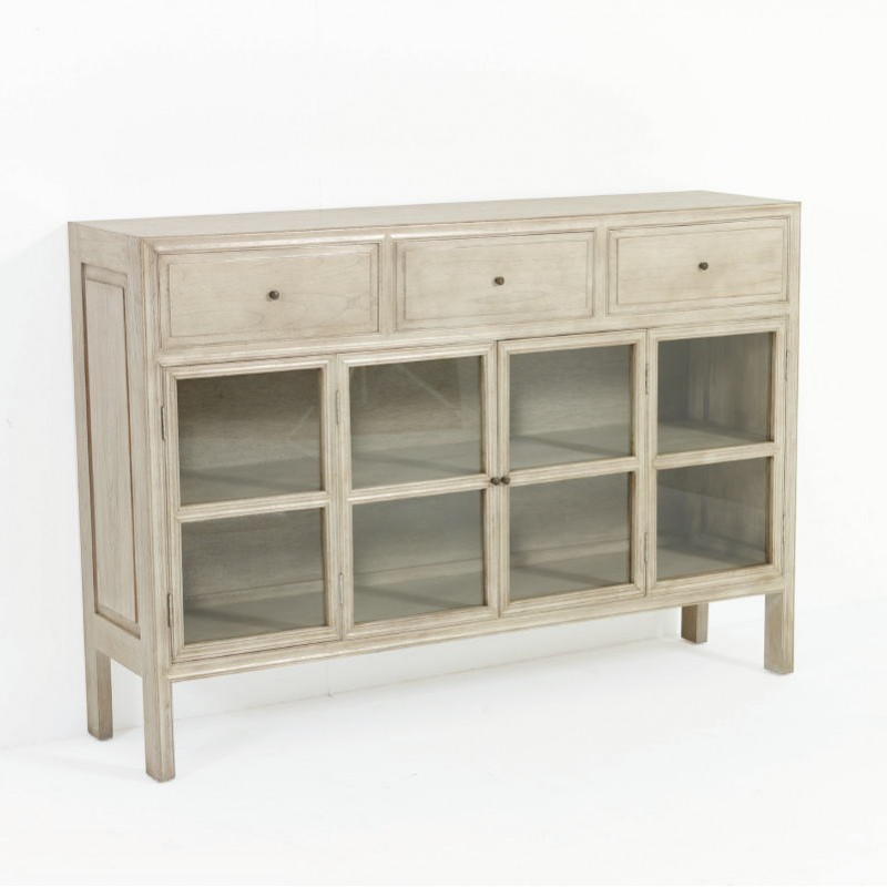 Sideboard 160X40X110 Glass Wood White Veiled - image 53324