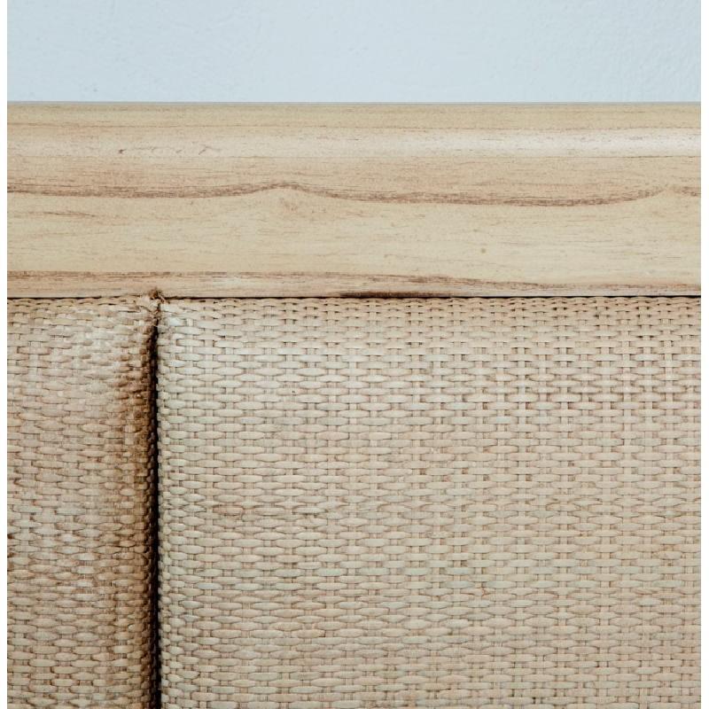 Headboard 162X9X137 Wood Rattan White Veiled - image 53328