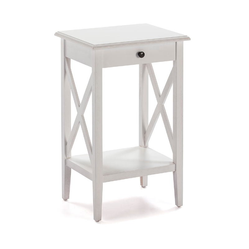 Bedside Table 42X35X70 Wood White
