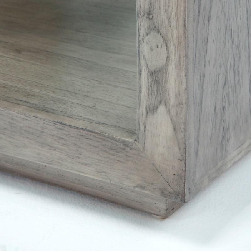 Nachttisch 50X40X55 Gebleichtes Graues Holz - image 53339
