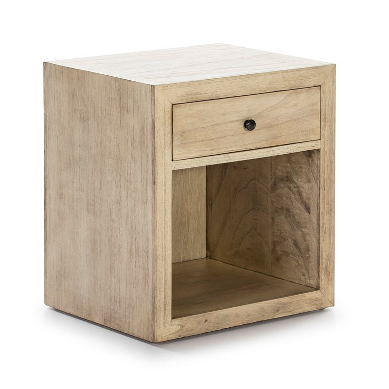 Bedside Table 50X40X55 Wood White Veiled Model 2