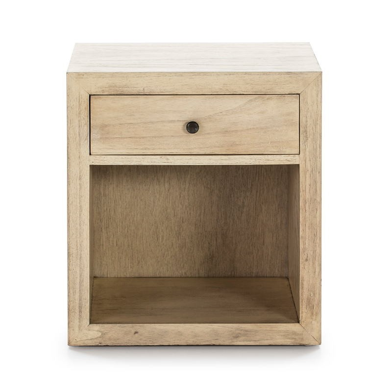 Bedside Table 50X40X55 Wood White Veiled Model 2 - image 53341