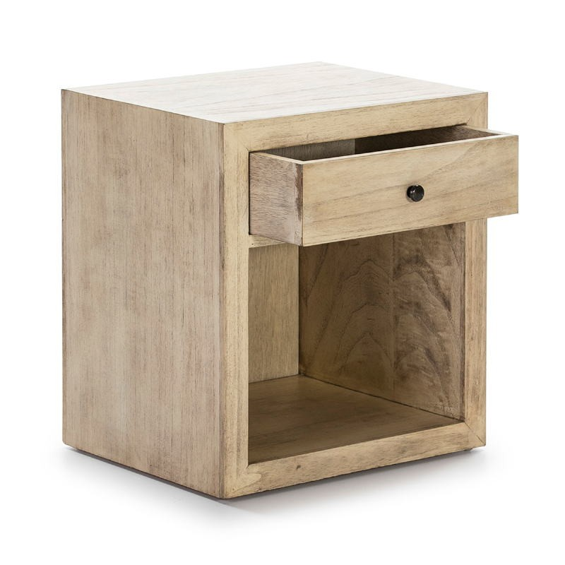 Bedside Table 50X40X55 Wood White Veiled Model 2 - image 53342