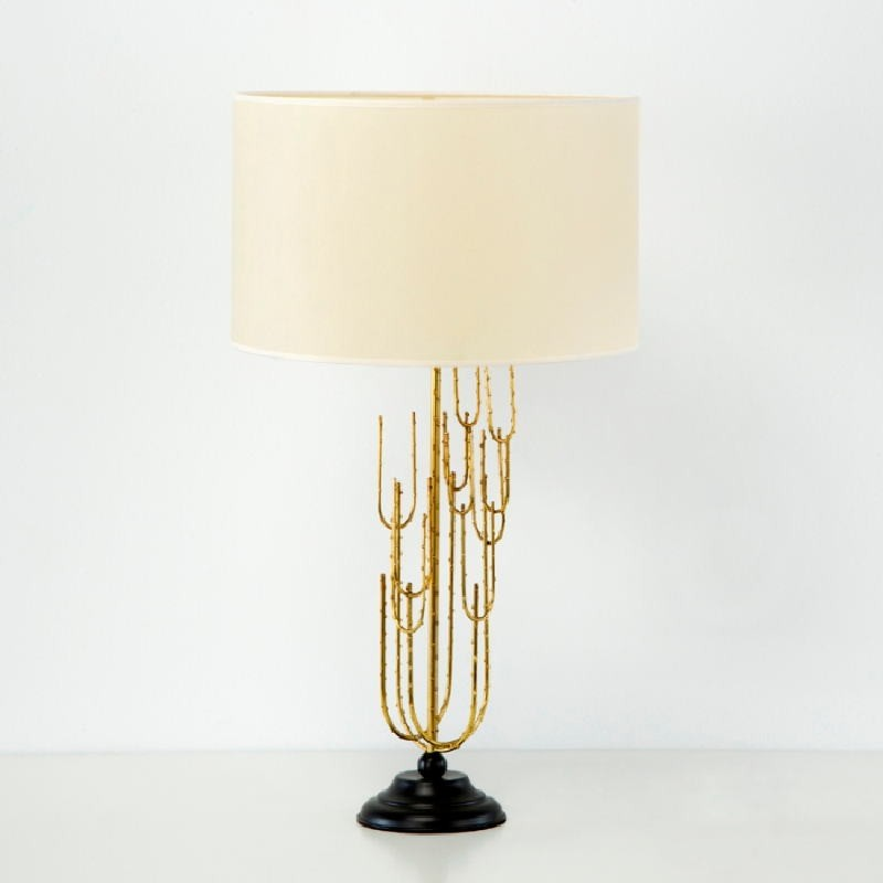 Lampe Auf Tisch Ohne Bildschirm 17X50 Metall Schwarz/Golden