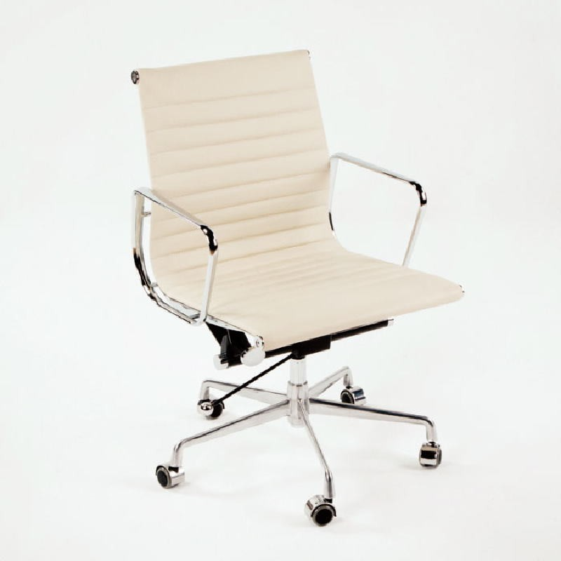 Office Adjustable Chair 58X64X89 97 Metal Leather Off-White