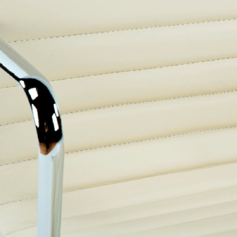Silla De Despacho Regulable 58X64X89 97 Metal Piel Blanco Roto - image 53404