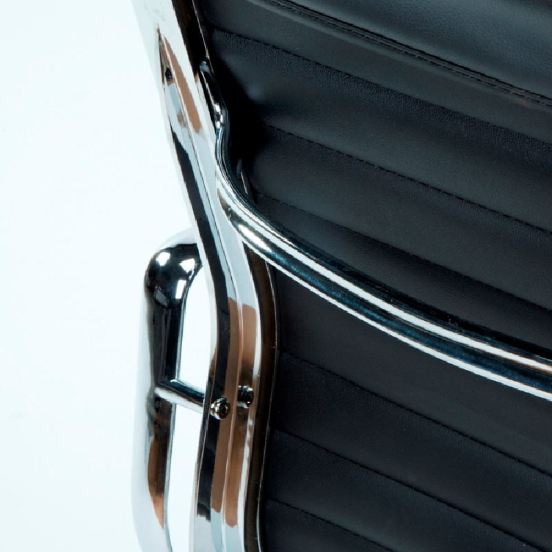 Verstellbarer Bürostuhl 58X64X107 115 Metall Schwarzes Leder - image 53415