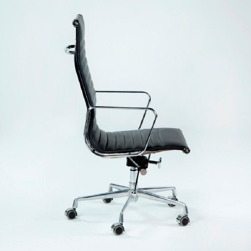 Verstellbarer Bürostuhl 58X64X107 115 Metall Schwarzes Leder - image 53417