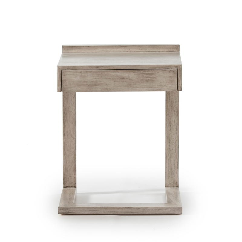 Bedside Table 50X35X66 Wood Grey Veiled - image 53442