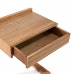 Bedside Table 50X35X66 Wood Natural Veiled