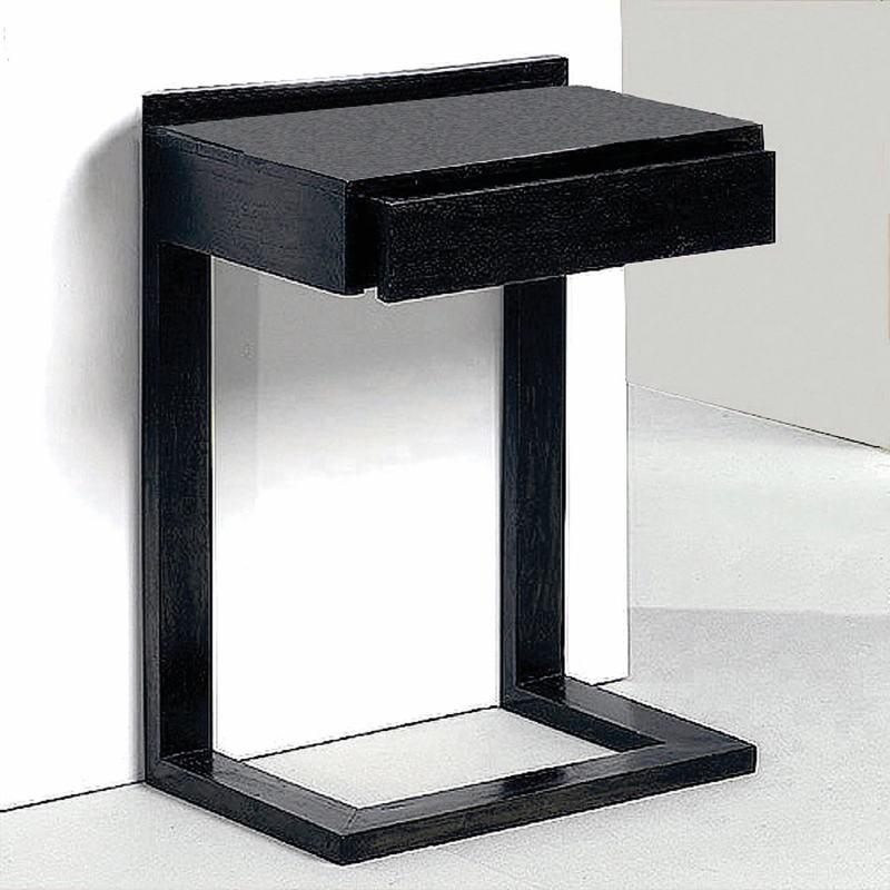 Bedside Table 50X35X66 Wood Black - image 53447