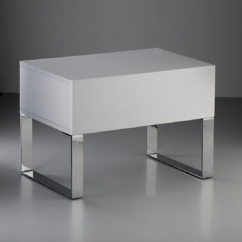 Table de chevet 63x40x44 Acier MDF Blanc