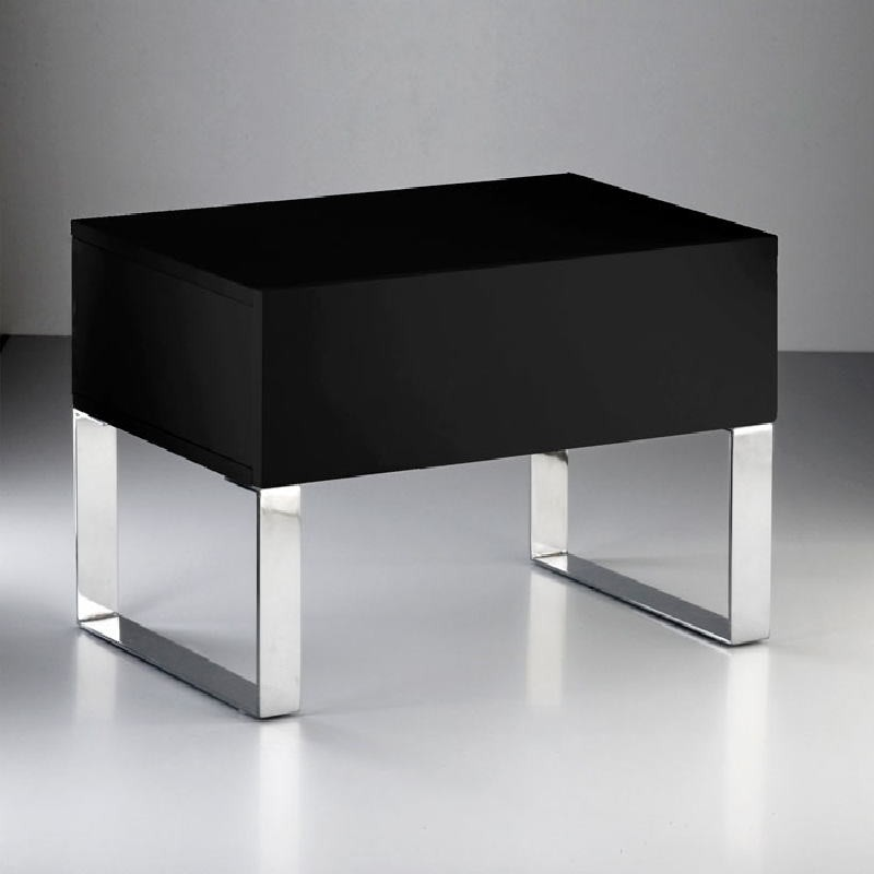 Table de chevet 63x40x44 Acier MDF Noir