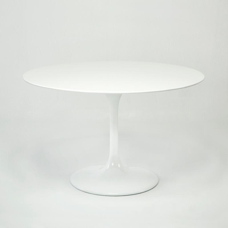 Table à Manger 120x120x75 Fibre de verre Blanc