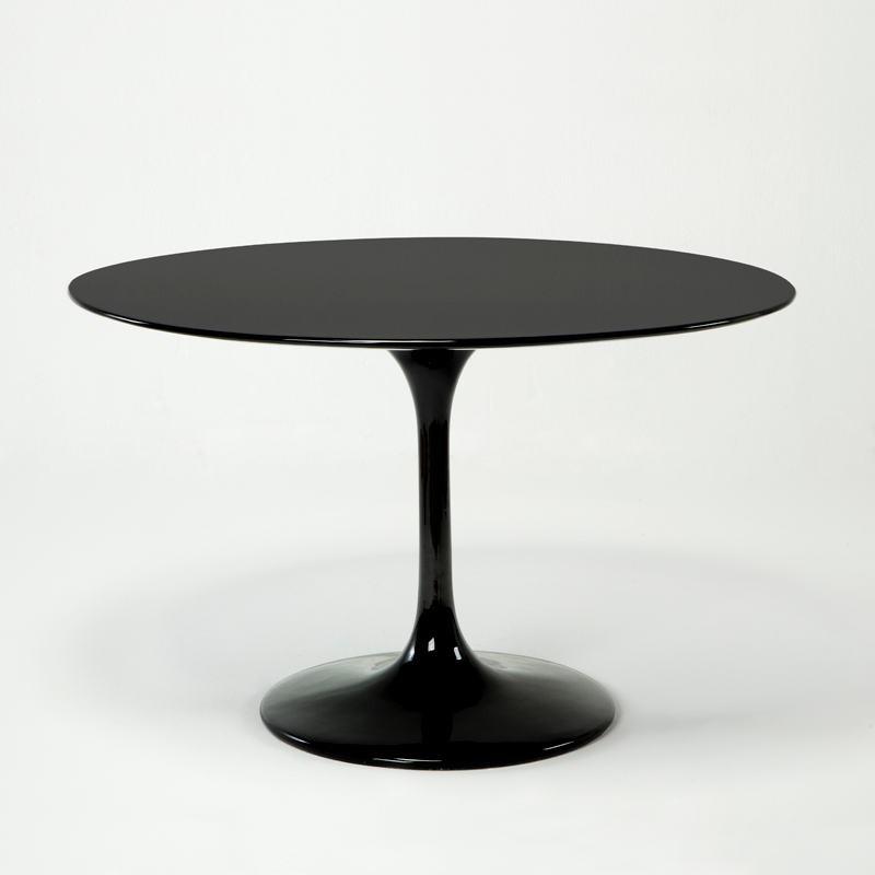 Table à Manger 120x120x75 Fibre de verre Noir