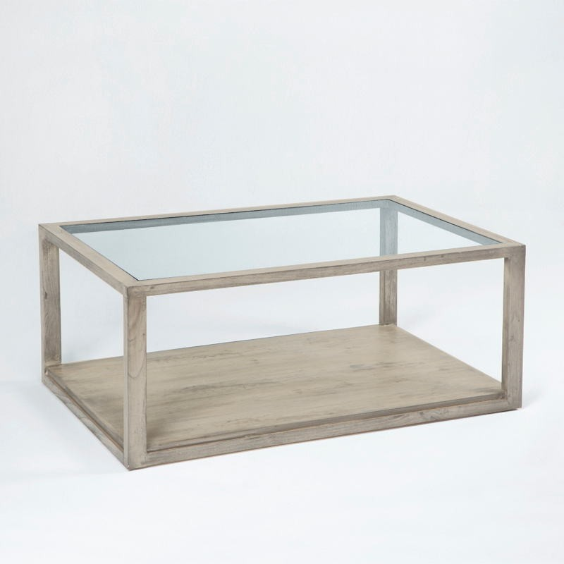 Couchtisch 110X70X45 Glas Holz Grau Gebleicht