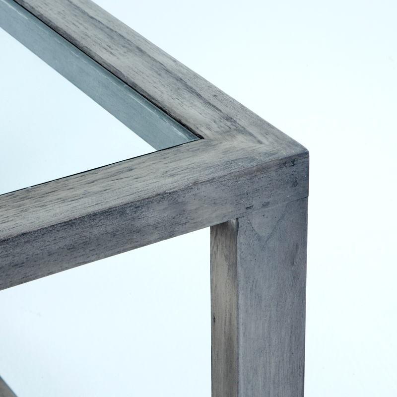 Table basse 110x70x45 Verre Bois Gris blanchi - image 53490