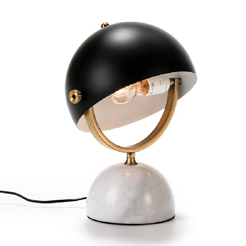 Table Lamp With Lampshade 28X24X40 Marble White Metal Golden Black - image 53492