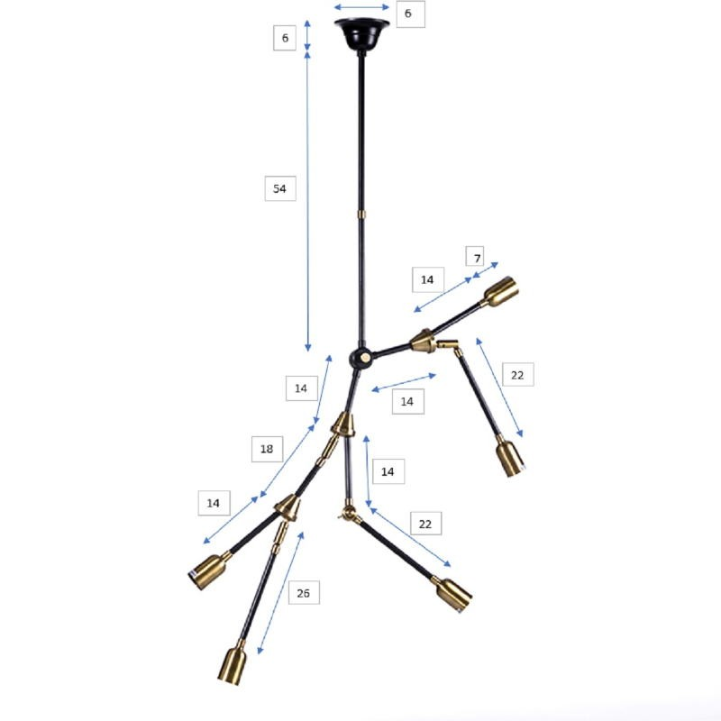 Hanging Lamp 100X6X101 Metal Golden Black - image 53525