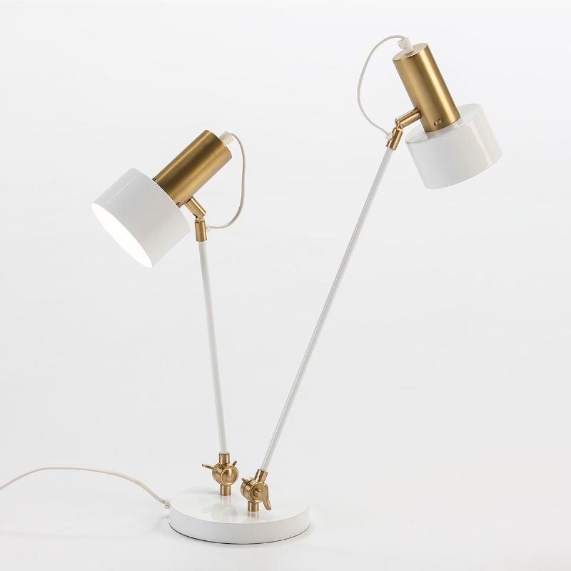 Lampe de Table 52x18x63 Métal Blanc Doré - image 53535