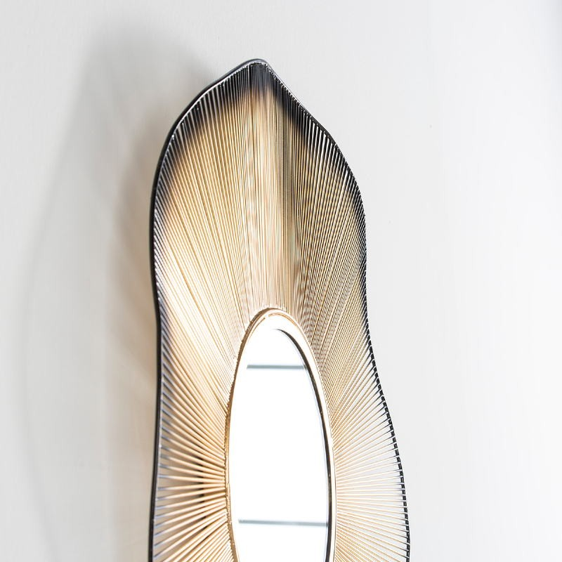 Specchio 75X4X75 Vetro Metallo Dorato Nero - image 53576