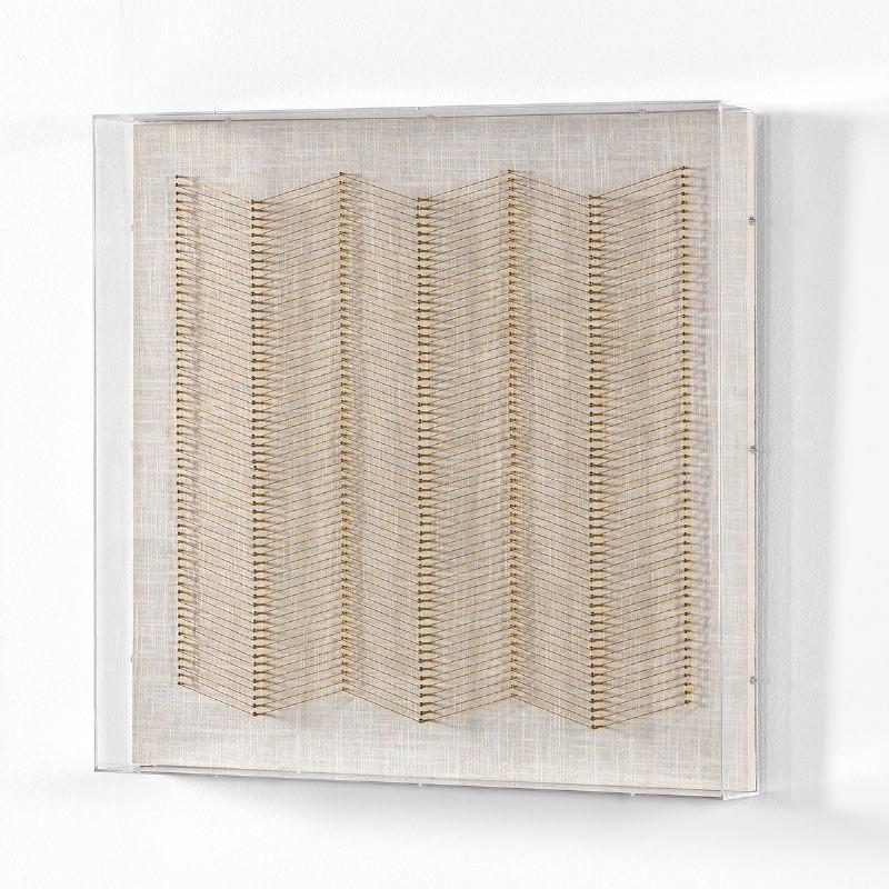 Tableau 60x8x60 Fils Doré Acrylique Transparent - image 53586
