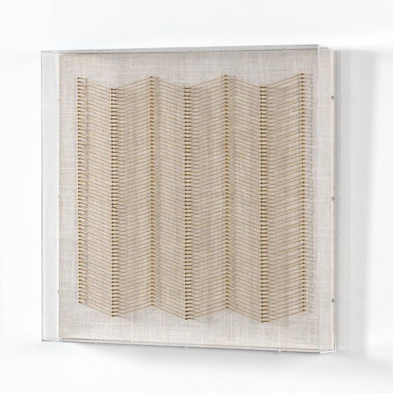 Tableau 60x8x60 Fils Doré Acrylique Transparent - image 53587