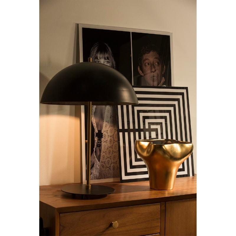Lampe de Table avec abat-jour 43x58 Métal Noir Doré - image 53602