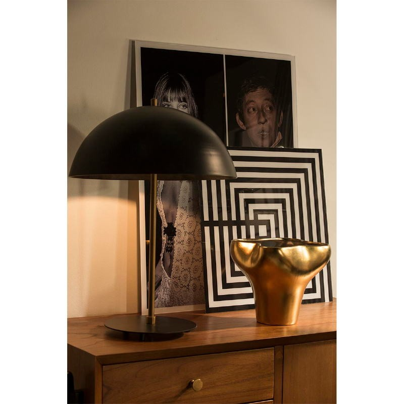Table Lamp With Lamp Shade 43X58 Metal Black Golden - image 53602