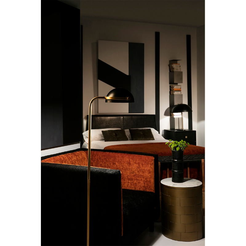 Table Lamp With Lamp Shade 43X58 Metal Black Golden - image 53603