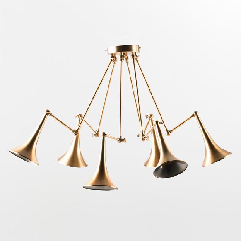 Lampe suspendue 90x90x80 Métal Doré - image 53618