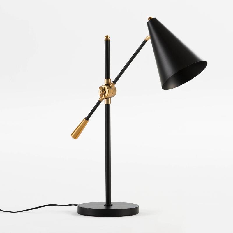 Lámpara De Sobremesa Con Pantalla 45X70 Metal Negro