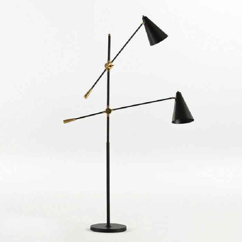 Lampadaire avec abat-jour 100x170 Métal Noir