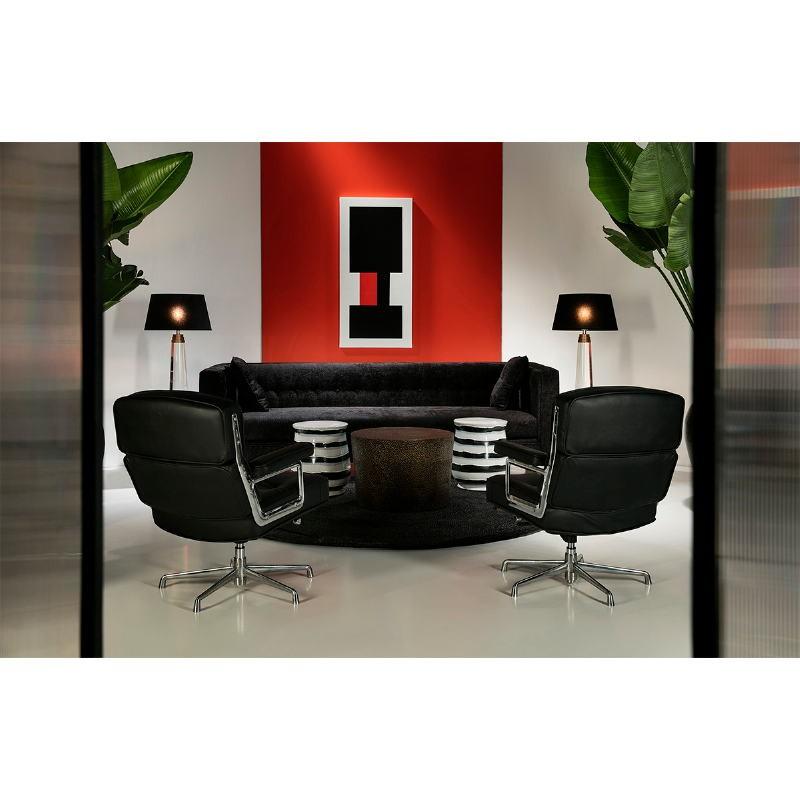 Set 3 Table d'appoint, bout de canapé 76x76x51, 60x60x42, 51x51x36 Métal Or Noir - image 53636