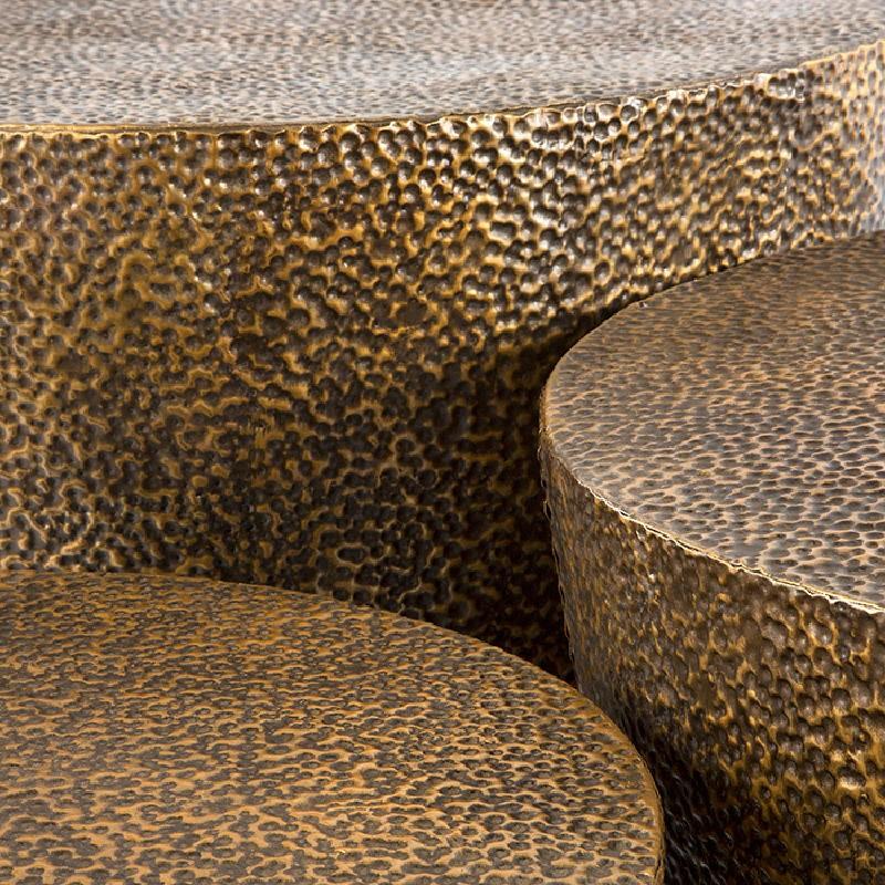 Set 3 Table d'appoint, bout de canapé 76x76x51, 60x60x42, 51x51x36 Métal Or Noir - image 53638
