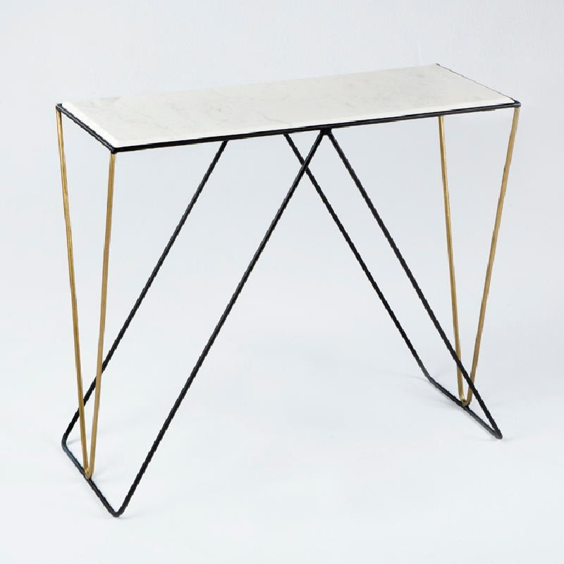 Console 89X33X76 Marble White Metal Black Golden  - image 53649