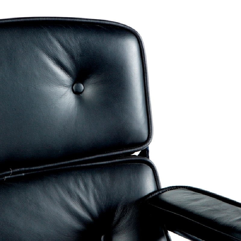 Office Adjustable Chair 64 X 60 X 93 99 Cm Leather Metal Black - image 53657
