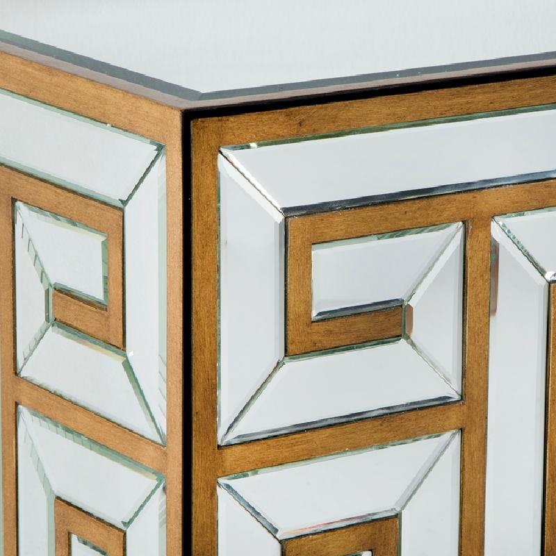 Aparador 2 Puertas 76X37X81 Espejo Dm Dorado - image 53669