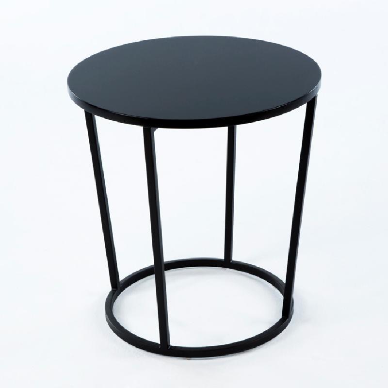 Table d'appoint, bout de canapé 50x50x54 Métal MDF Noir - image 53695