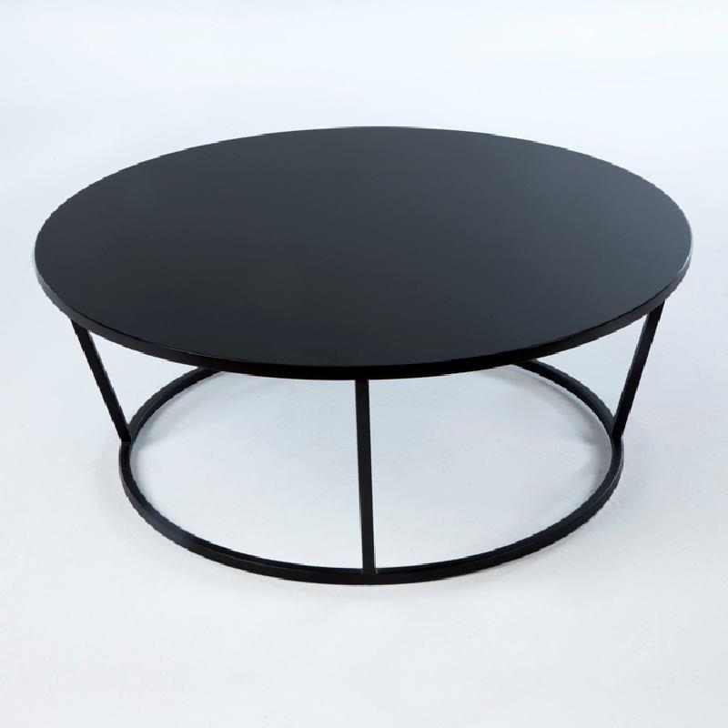 Coffee Table 90X90X35 Metal Mdf Black