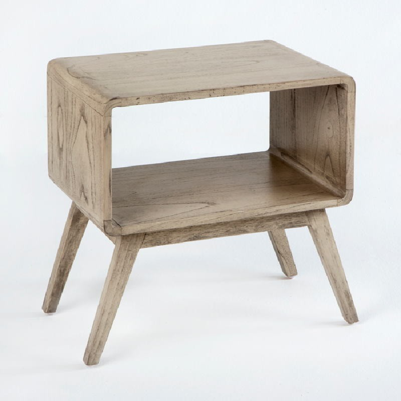 Bedside Table 50X35X51 Wood Grey Veiled